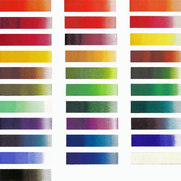 日本画用絵具の鉄鉢の色見本