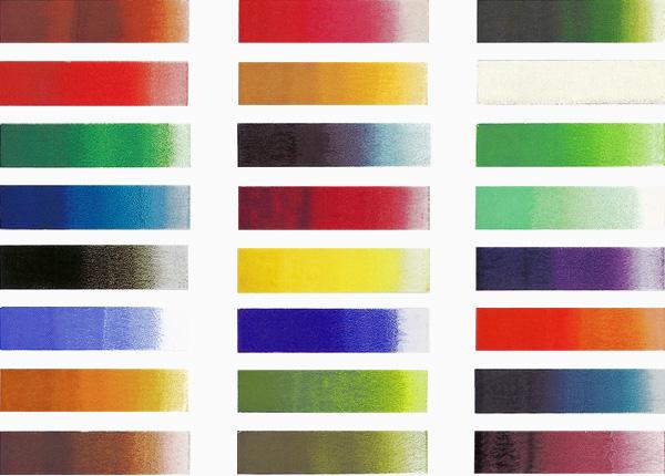 日本画用絵具の顔彩の色見本
