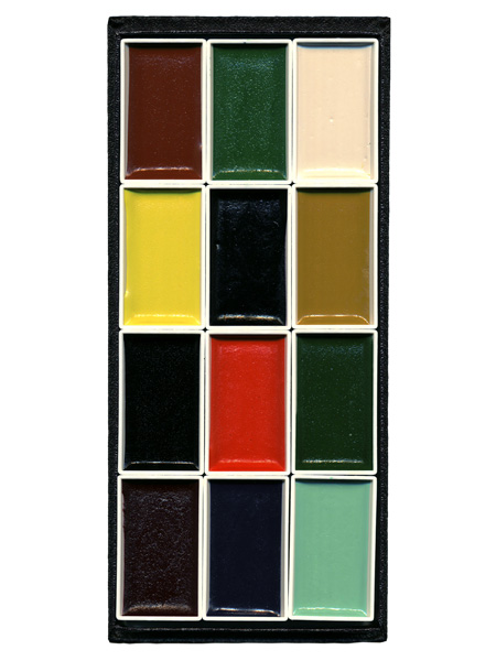 顔彩12色セット(日本画画材・丹青堂製)の中身